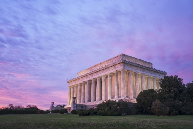 lincoln memorial, sunrise, pink, clouds, washington dc, sky, visit, memorial, architecture, columns, love, happy, gratitude