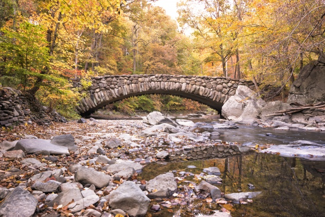 rock creek park, boulder bridge, autumn, washington dc, fall, leaves, trees, creek, water, rocks, visit