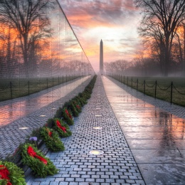 vietnam veterans memorial, washington dc, wreaths across america, wreaths, sunrise, washington monument, trees, reflection, puddles, veterans day