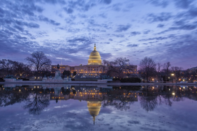 us capitol, washington dc, sunrise, clouds, reflection, washington dc, reflecting pool,