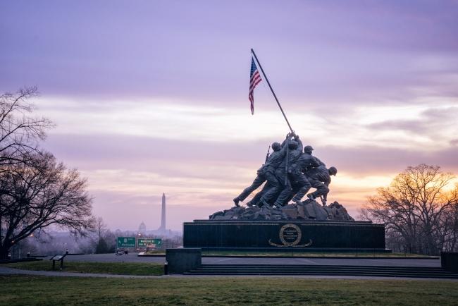 iwo jima, memorial, washington monument, lincoln memorial, marine corp memorial, washington, arlington, sunrise, va, virginia, american flag