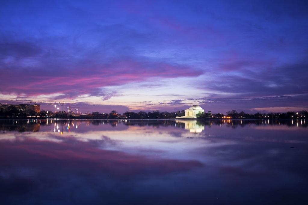 jefferson memorial, clouds, blue hour, sunrise, sky, washington dc, tidal basin, visit, travel, reflection