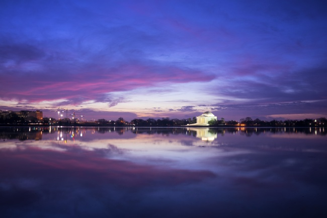 jefferson memorial, clouds, blue hour, sunrise, sky, washington dc, tidal basin, visit, travel, reflection