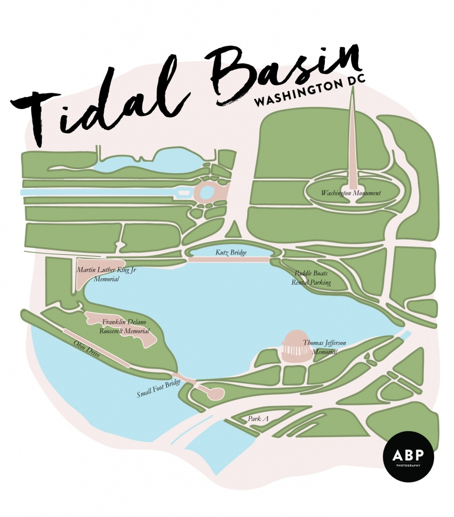 tidal basin, map, washington dc, visit, cherry blossoms, jefferson memorial, martin luther king jr memorial, fdr memorial, washington monument, map