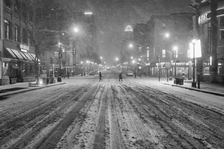 chinatown, washington dc, blizzard 2016, jonas, snowzilla, street, black and white, snow, winter,