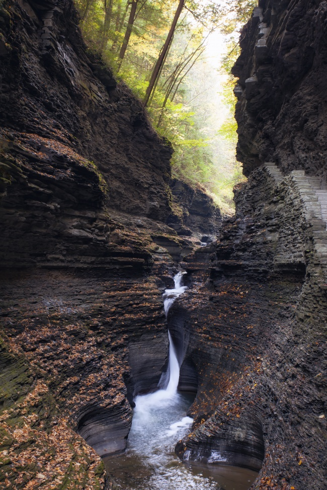watkins glen, new york, state park, waterfall, fall, visit, travel, finger lakes state park, streams, cavern cascade, corning