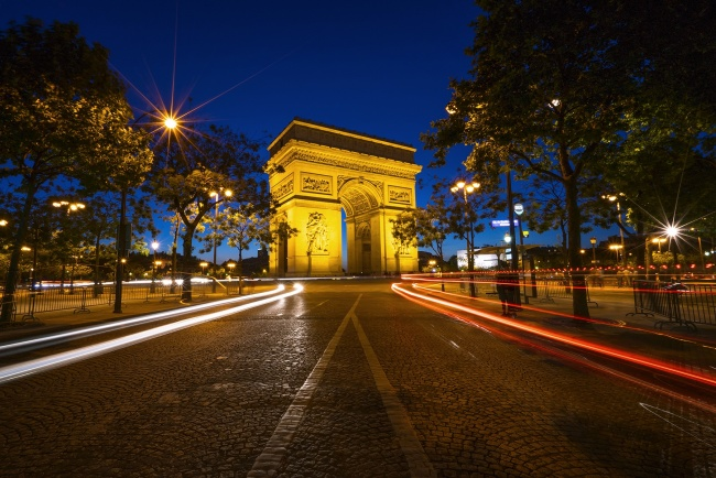 arc de triomphe, paris, france, night, cars, trails, traffic, city, center, welcome, visit, travel, europe, streets