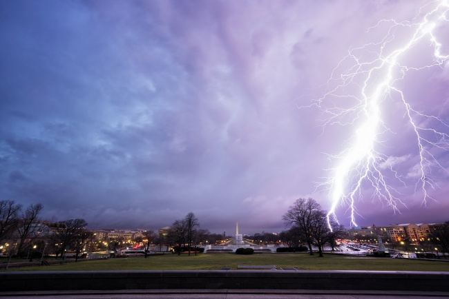 lightning, washington dc, tornado, washington monument, sunset, lightning, strike, electricity, severe, capitol, capital, storm, rain, clouds, weather, awesome