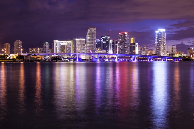 miami, florida, fl, skyline, night, buildings, lights, reflection,