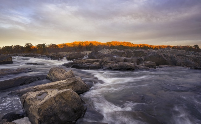 sunset, great falls, park, state park, virginia, va, trail, hikes, afternoon, potomac, mather gorge, rocks, water, waterfall, va, clouds,