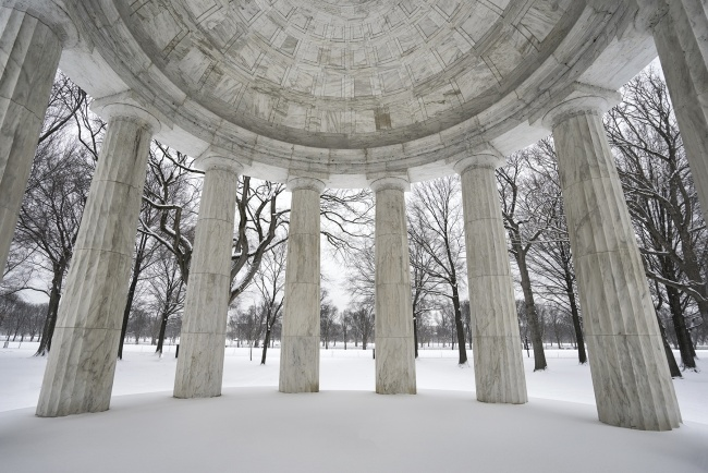 wwi, snow, winter, washington dc, columns, architecture, trees, winter, rhythm, texture, architecture, white