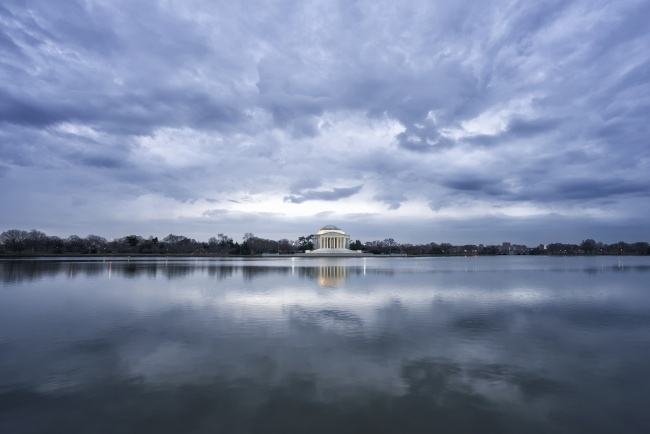 reflection, jefferson memorial, sunrise, clouds, blue, house of cards, netflix, early morning, symmetry, clouds, washington dc, early morning