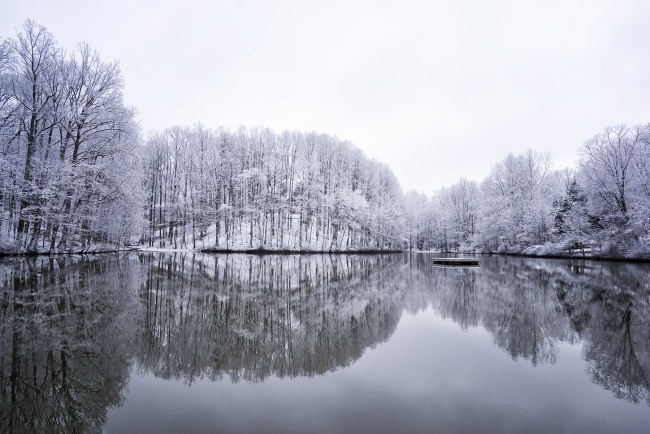 snow, lake, virginia, va, winter, weather, reflection, trees, sunrise, early morning, clouds, white
