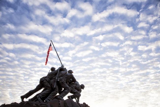 sunrise, clouds, iwo jima, marine corp memorial, american flag, clouds, virginia, va, rosslyn, washington dc,