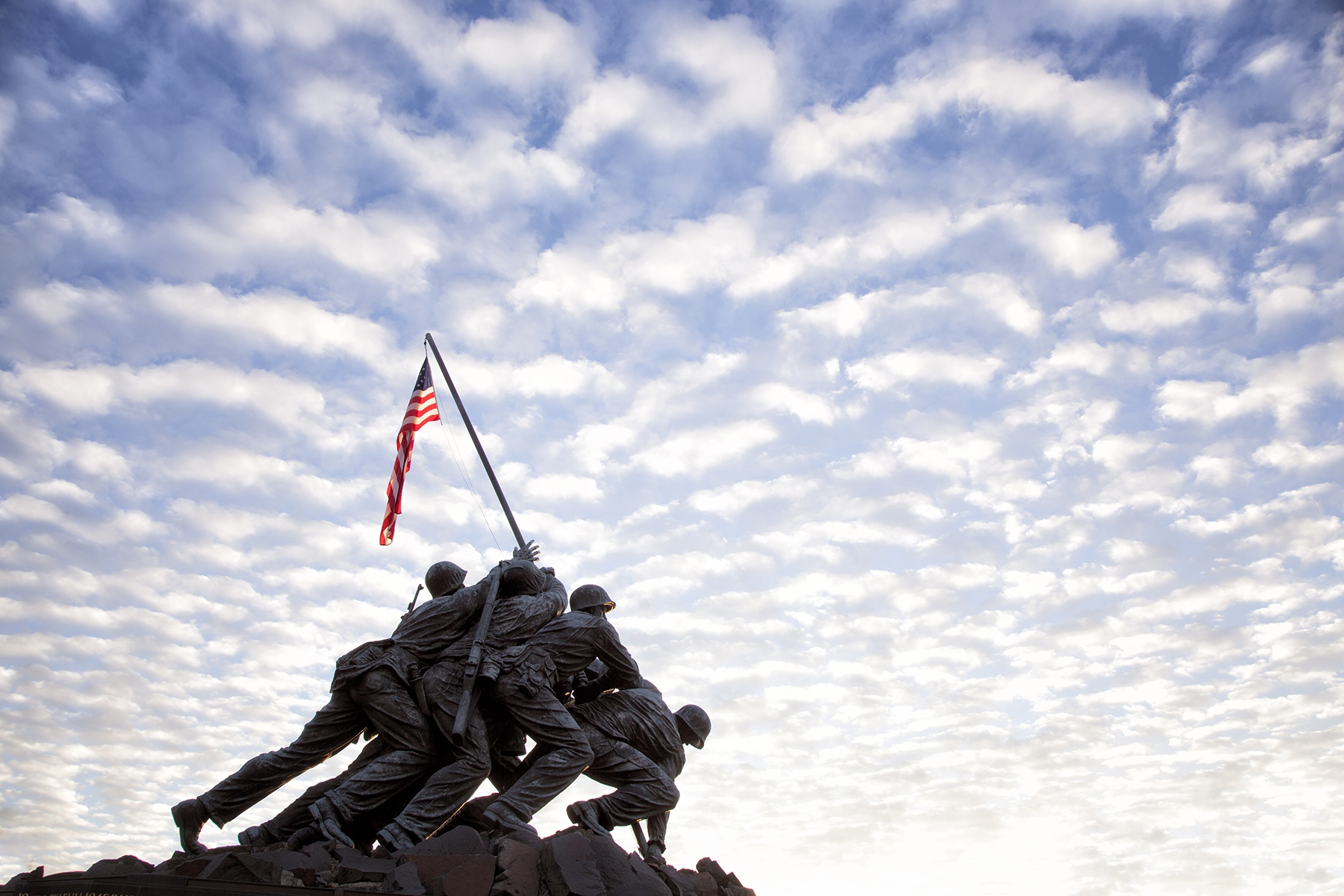 sunrise, clouds, iwo jima, marine corp memorial, american flag, clouds, virginia, va, rosslyn, washington dc,