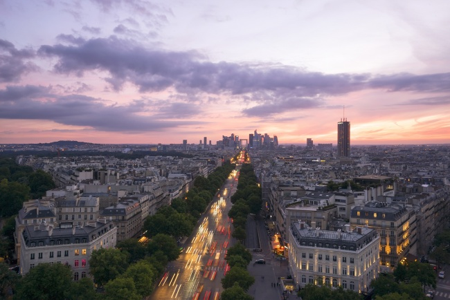 france, paris, top of arc de triomphe, streets, night, cars, sunset, clouds, new arc, grande arc, europe, travel