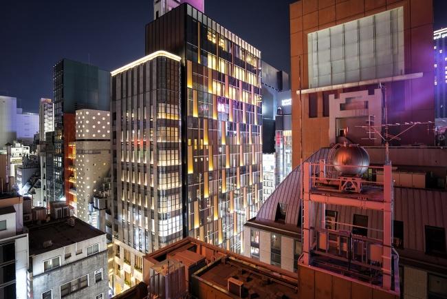 ginza, tokyo, japan, rooftop, night, busy, city, vertigo, asia, lights, neon, buildings,