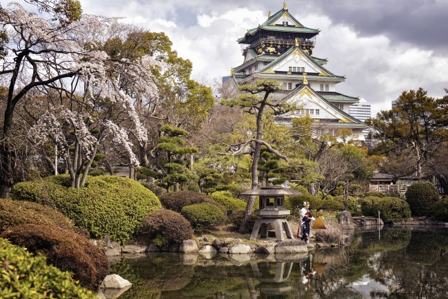 osaka, castle, reflection, chuo-ku, japan, cherry blossoms, travel, visit, Nishinomaru Garden