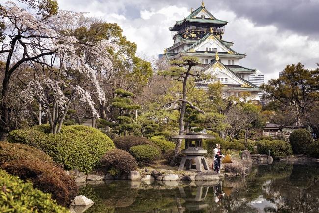 osaka, castle, reflection, chuo-ku, japan, cherry blossoms, travel, visit, Nishinomaru Garden