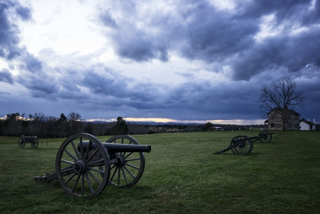 manassas, va, virginia, battlefield, canons, house, storm, clouds, rain, visit, national battlefield, point of interest, park service