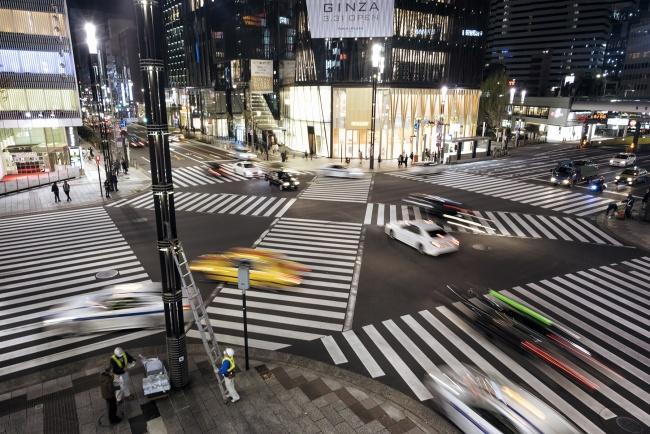 tokyu, plaza ginza, street, crosswalk, traffic, busy, japan, tokyo, ginza, night, taxi, pedestrians, workers,