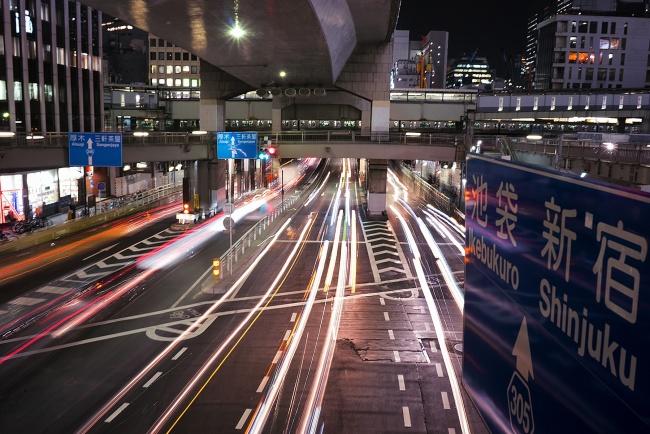 shibuya, night, car trails, japan, visit, travel, shinjuku, cars, lanes,