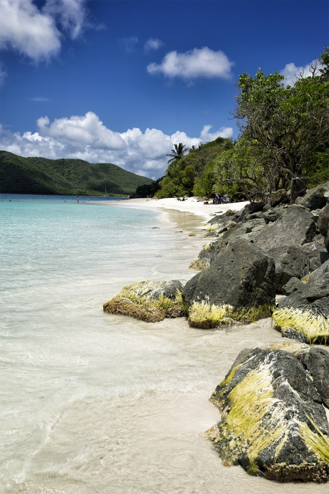 cinnamon bay, st john, cinnamon cay, rocks, beach, clear water, mountains, virgin islands, usvi, caribbean, island, clouds, visit, travel,