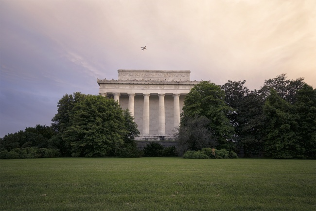 lincoln memorial, washington dc, sunset, clouds, airplane, dca, reagan, national aiport, airplane, travel, flying, visit