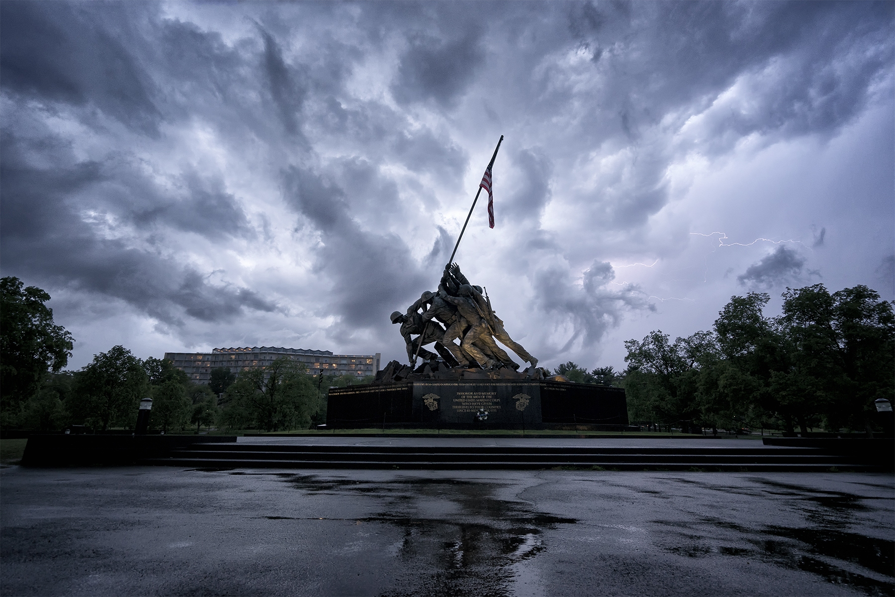 iwo jima, lightning, storm, clouds, rain, arlington, virginia, va, reflection, rain,