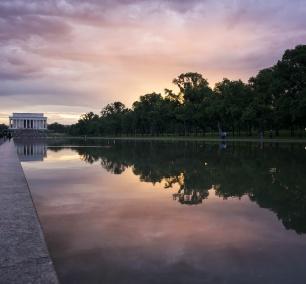washington dc, lincoln memorial, sunset, reflecting pool, purple, cityscape, trees, night, sun, tourists,