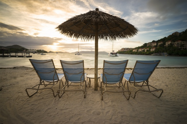 st thomas, virgin islands, margaritaville, jimmy buffet, sunrise, morning, beach, umbrella, chairs, ocean, caribbean, usvi