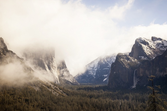 yosmite, fog, california, yosemite national park, tunnel view, ansel adams, three brothers, california, visit, ca, waterfall, beautiful, magical, special