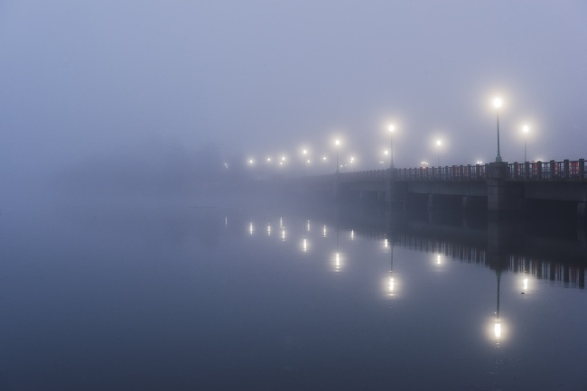 fog, bridge, washington dc, art, kutz bridge, lights, street, morning, winter, blue,
