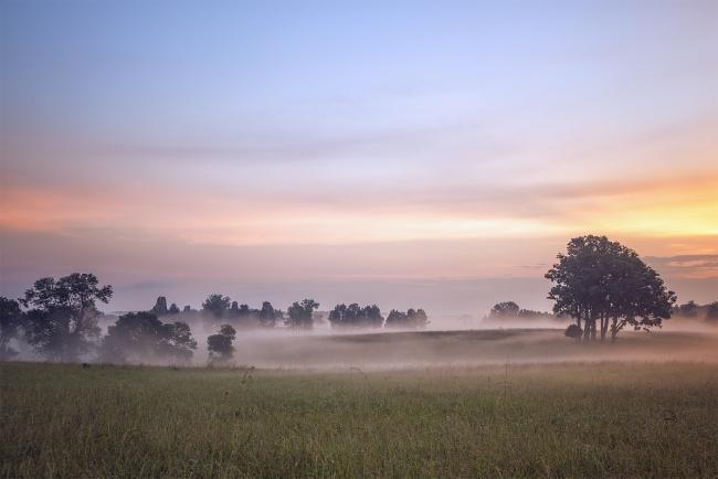 manassas, virginia, va, city of, visit, battlefield, sunrise, fog, color, early morning, northern va, prince william county