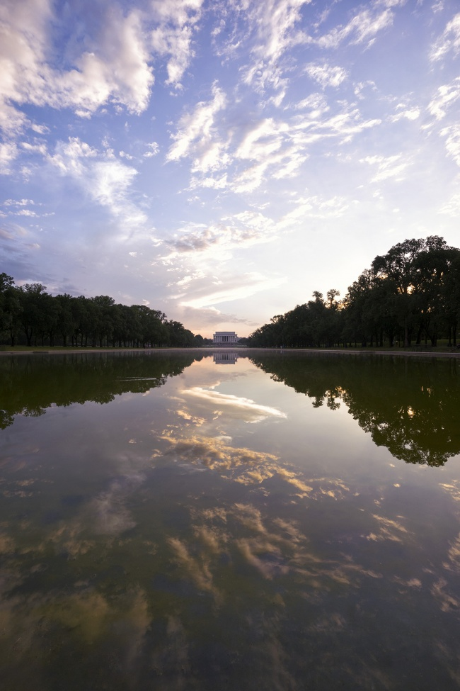 reflecting pool, reflection, clouds, after the storm, dc, sunset, lincoln memorial, washington dc, last night, visit, wwii,
