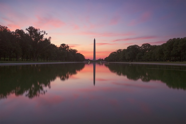 washington dc, washington monument, sunrise, visit dc, reflection, reflecting pool, trees, lincoln memorial, early morning, visit, travel