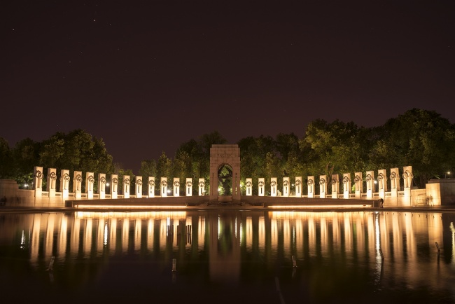 wwii memorial, washington dc, night, stars, reflection, fountain, columns, states, pacific, trees, sky