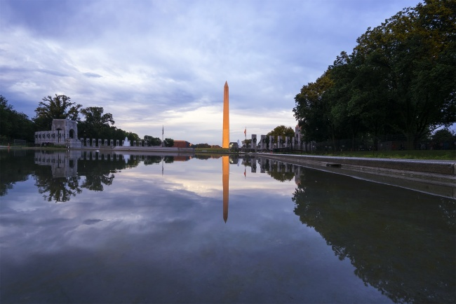wwii, memorial, washington monument, reflecting pool, sunset, washington dc, travel, glow, illuminate, visit, trees, reflection