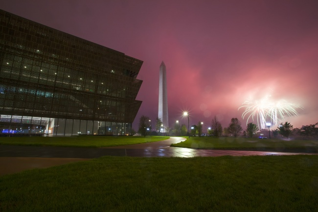 fireworks, independence day, washington dc, july 4th, washington monument, national mall, museum of african american history and culture, smithsonian institution, museum, archteicture, reflection, rain