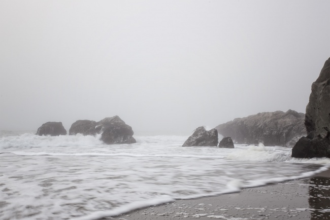 baker beach, california, golden gate national park, san francisco, pacific ocean, northwest city, state park, fog, karl the fog, rocks, water, beach