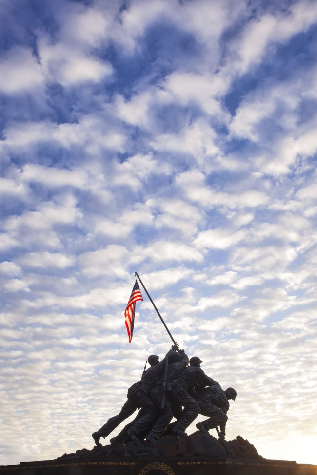 Iwo jima, arlington va, virginia, marine corp memorial, national monument, honoring marines, wwii, clouds, sunrise, rosslyn