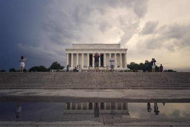 lincoln memorial, american monument, national monument, 16th presiden, abraham lincoln, west end, national mall, washington dc, puddle, rain, sunset, sky, photographers, reflection