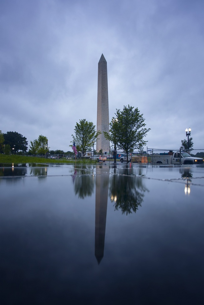 washington monument, washington dc, nationall museum of african american history and culture, reflection, rain, puddle, clouds, sunset, night