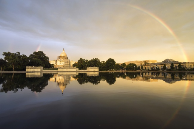 capitol reflecting pool, us capitol, capitol grounds, storm, rainbow, botanical garden, reflection, reconstruction, sunset, washington dc,
