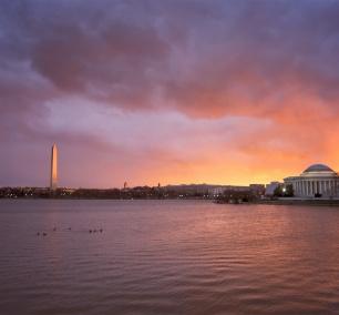 sunrise, washington dc, visit, colors, orange, purple, blue, jefferson memorial, washington monument, washington dc, tidal basin, epic, serene, beautiful, unique, visit, travel