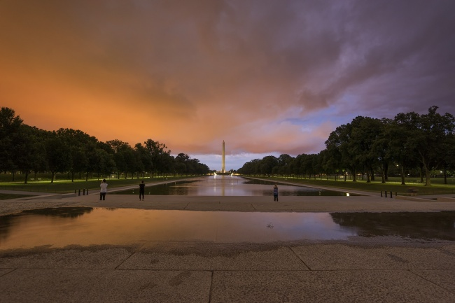 washington dc, storm, reflection, washington monument, lincoln memorial, puddle, reflection, red sky, clouds, dramatic, trees, reflecting pool, storms, rain, downpour