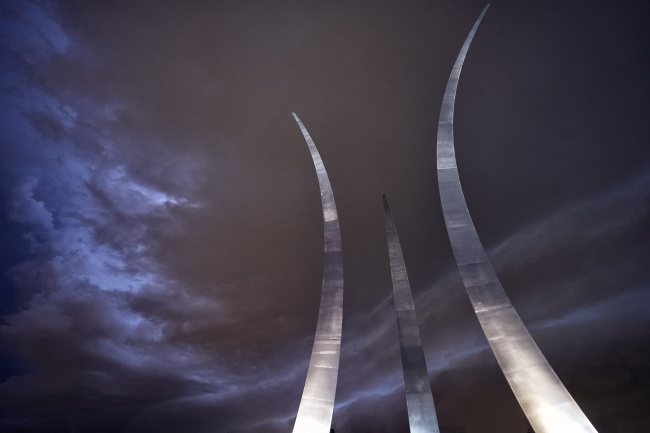 air force memorial, afm, arlington, virginia, va, storm, night, thunder, lightning, united states air force memorial, united states air force, pentagon, clouds