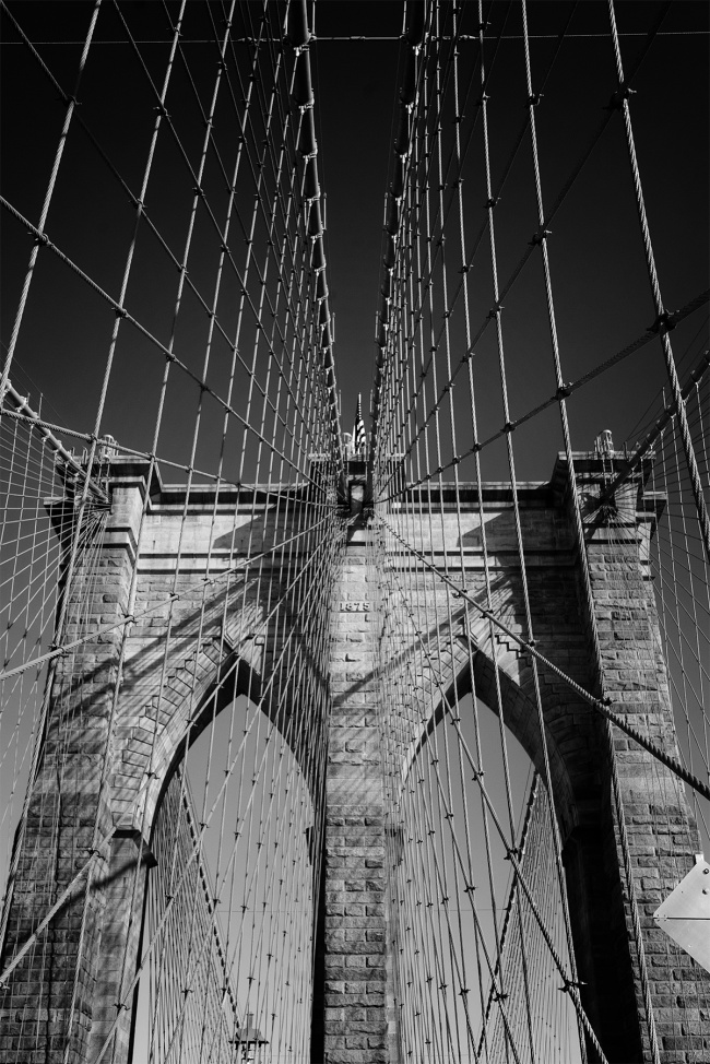 brooklyn bridge, cable-stayed, suspension bridge, new york city, united states, new york, ny, east river, manhattan, brooklyn, walk, tour, black and white, lines,