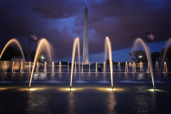 world war ii, memorial, national world war ii memorial, armed forces, civillians, washington dc, national park service, night, fountains, water, light, storm, clouds, washington monument, served, american battles, granit structure, vertical pilars