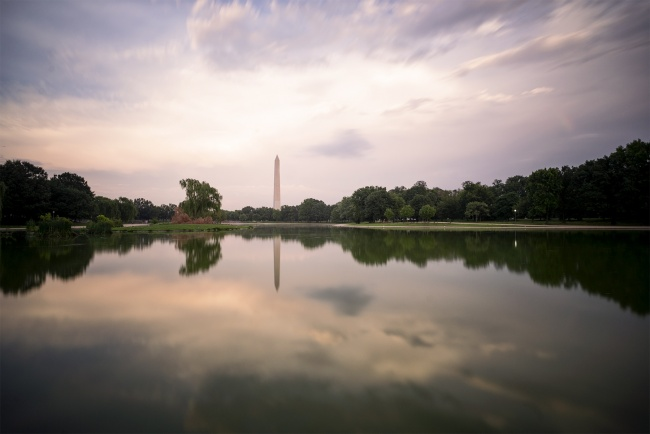 sunset, washington dc, constitution gardens, national parks, memorial parks, washington monument, reflection, constitution ave, small pond